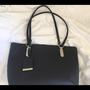 colette hayman handbag blackleather silverhardware
